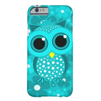 turquoise flowers and cute owl iPhone 6 case
