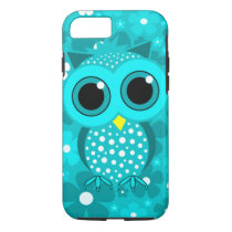 turquoise flowers and cute owl iPhone 7 case