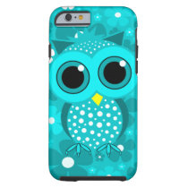 turquoise flowers and cute owl tough iPhone 6 case
