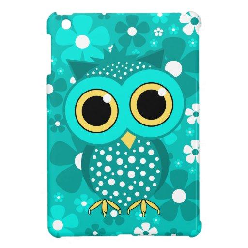 turquoise flowers and owl iPad mini cases