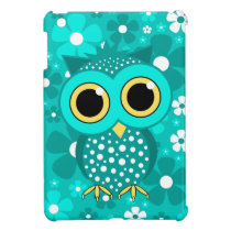 turquoise flowers and owl iPad mini cover