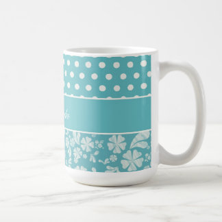 Turquoise Flowers and Polka Dots Classic White Coffee Mug