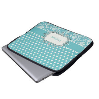 Turquoise Flowers and Polka Dots Laptop Sleeve