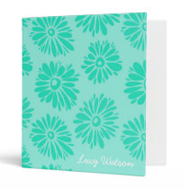 Turquoise Flowers Binder