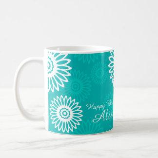Turquoise flowers Happy Birthday Name Mug