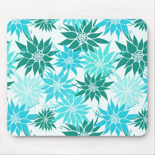 Turquoise Flowers Mousepad