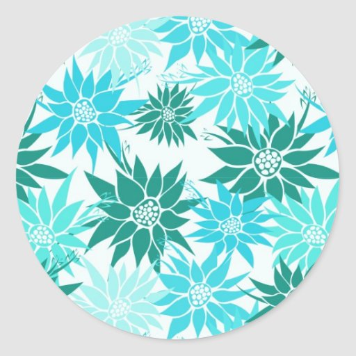 Turquoise Flowers Sticker