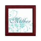 Turquoise Flowers Swirls Mother's Day Gift Box