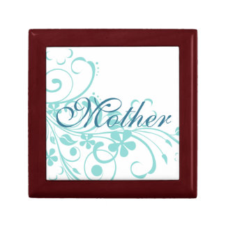 Turquoise Flowers Swirls Mother's Day Trinket Boxes