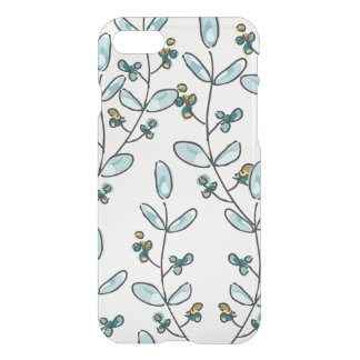 Turquoise Flowers & Vines Clear iPhone 7 Case