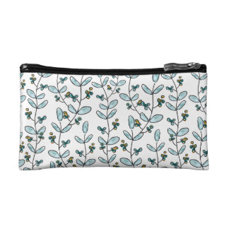 Turquoise Flowers & Vines Small Makeup Case