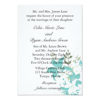 Turquoise Flowers Wedding Invitation