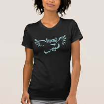 Turquoise Flying Owl Sketch Black T-shirt