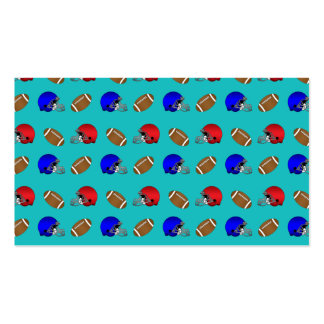 Turquoise footballs helmets pattern business card templates