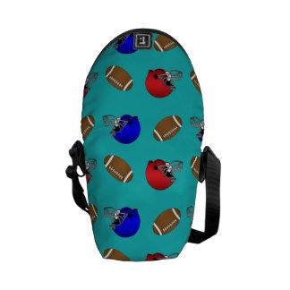 Turquoise footballs helmets pattern messenger bag