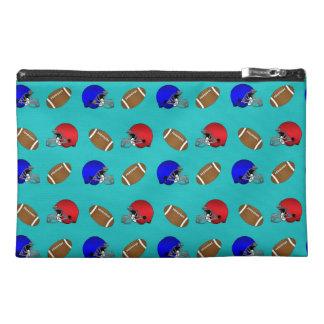 Turquoise footballs helmets pattern travel accessory bag
