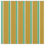 [ Thumbnail: Turquoise, Forest Green, Gray & Dark Goldenrod Fabric ]