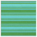 [ Thumbnail: Turquoise & Forest Green Pattern Fabric ]