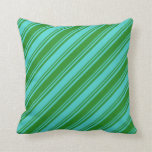 [ Thumbnail: Turquoise & Forest Green Pattern Throw Pillow ]
