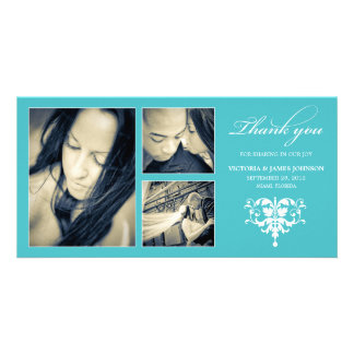 TURQUOISE FORMAL COLLAGE | WEDDING THANK YOU CARD