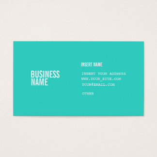 Turquoise Format With Columns Condensed Fonts Business Card