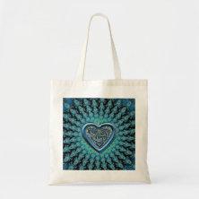Turquoise Fractal Mandala Celtic Heart Knot Tote Bag