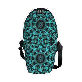 Turquoise Fractals Courier Bag