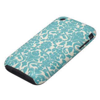 Turquoise French Damask iPhone 3 Tough Case
