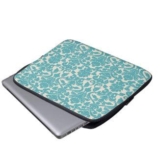 Turquoise French Damask Computer Sleeve