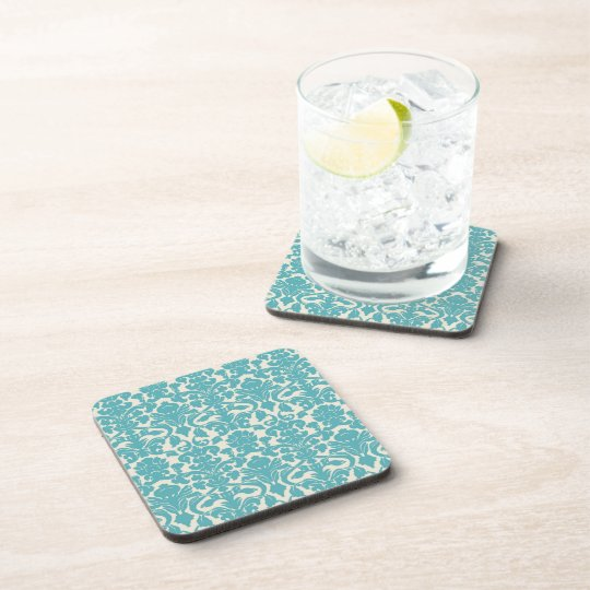 Turquoise French Damask Drink Coaster