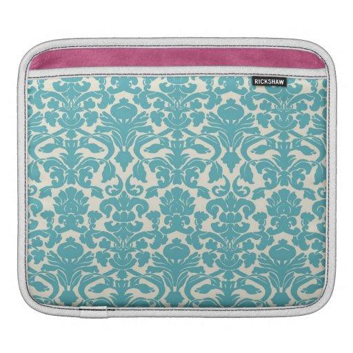 Turquoise French Damask iPad Sleeves