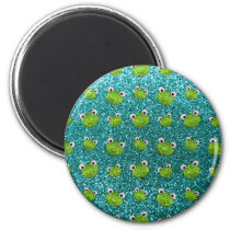 Turquoise frog head glitter pattern magnet