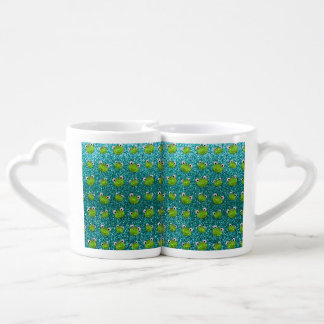Turquoise frog head glitter pattern couples' coffee mug set
