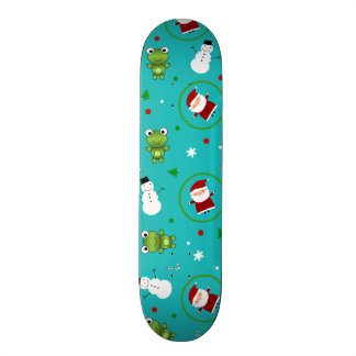 Turquoise frogs santa claus snowmen skate deck
