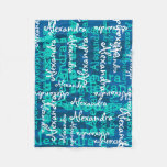 Turquoise Frozen Ice Blue Girls Name Collage Fleece Blanket