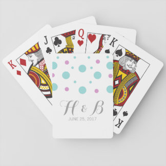 Turquoise Fuchsia Confetti Wedding Playing Cards
