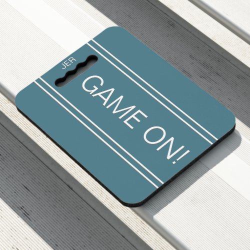 Turquoise GAME ON Quote Monogrammed Stadium Sports Seat Cushion