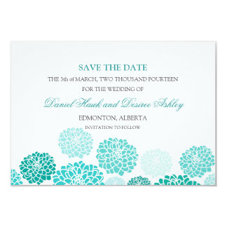 Turquoise Garden Wedding SAVE THE DATE 3.5x5 Paper Invitation Card