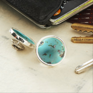 Turquoise Gemstone Image Round Lapel Pin