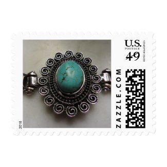 Turquoise gemstone stamps