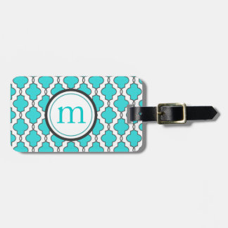 Turquoise Geometric Luggage Tag Personalized