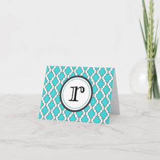 Turquoise Geometric Ornate Notecard with Monogram