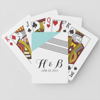Turquoise Geometric Stripe Playing Cards