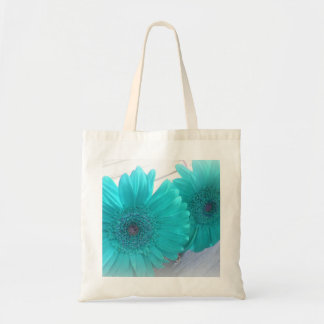 Turquoise Gerbera Tote Canvas Bags