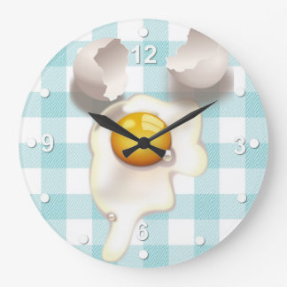 Turquoise Gingham Cracked Egg Kitchen Wall Clock