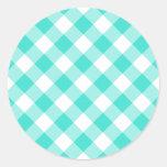 Turquoise Gingham Pattern Round Sticker
