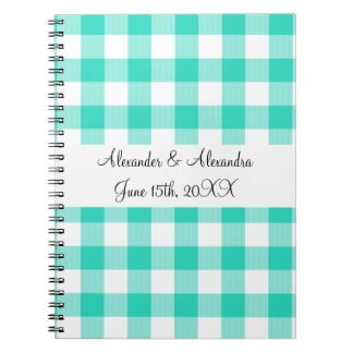 Turquoise gingham pattern wedding favors spiral notebooks