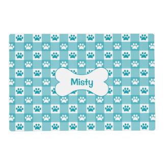 Turquoise Gingham with Paws and Bone Laminated Placemat
