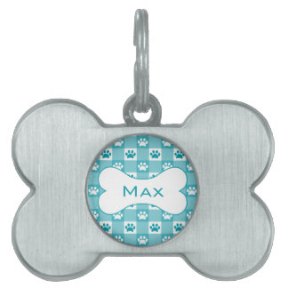 Turquoise Gingham with Paws and Bone Pet ID Tag