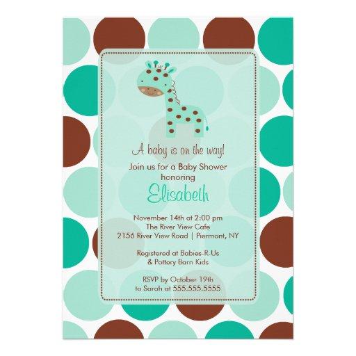 turquoise giraffe baby shower invitation 5 x 7 invitation card